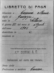 Libro paga di una cascera, Caronni Maria/ Anonimo