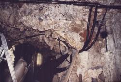 Grotta del mormorio nel Ninfeo in fase di restauro